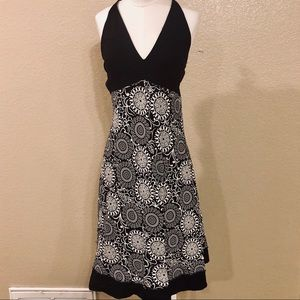 Black & white floral dress with halter top